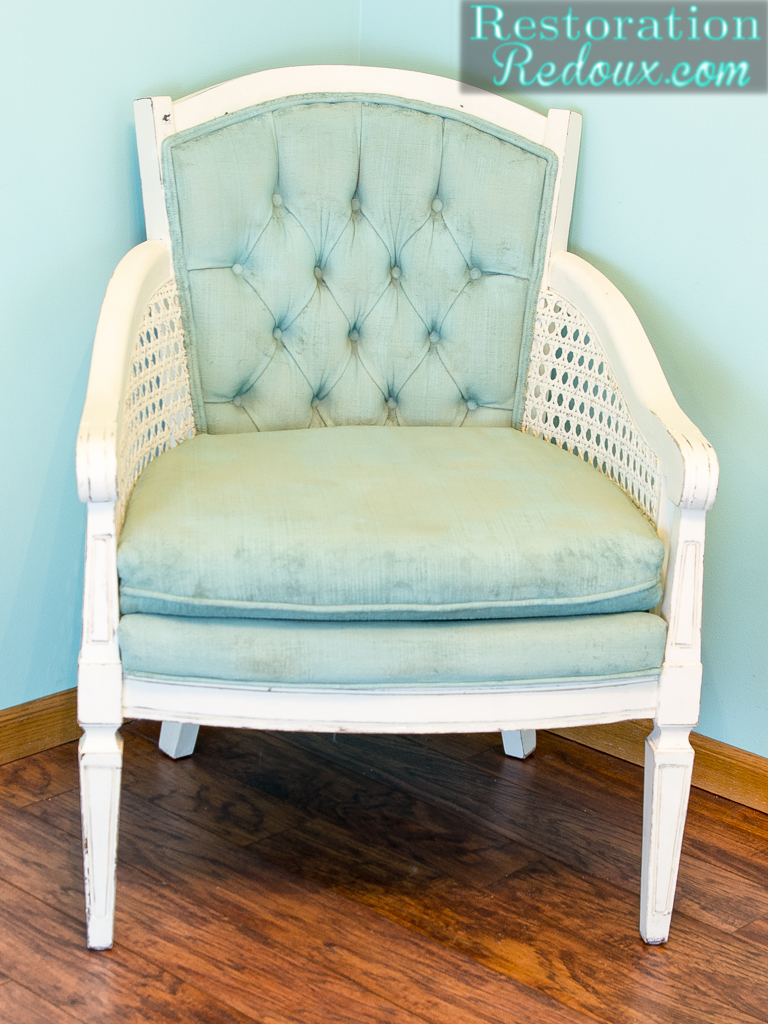 Vintage Cane Back Chair Makeover Debbiedoos