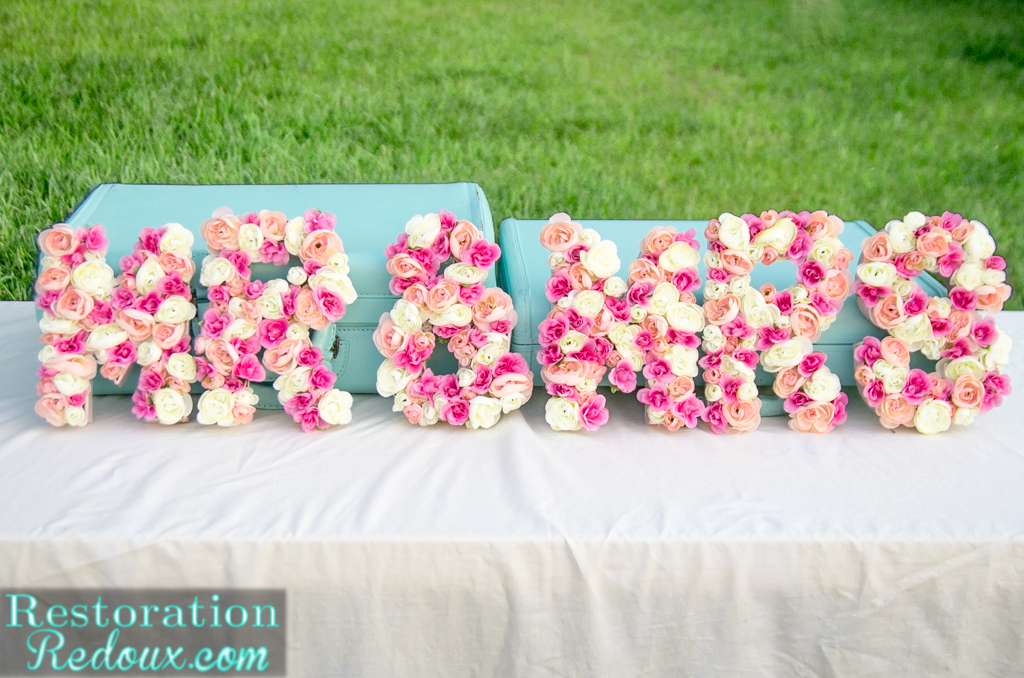 Flower Filled 3-D Letters (and an invitation to get buff)