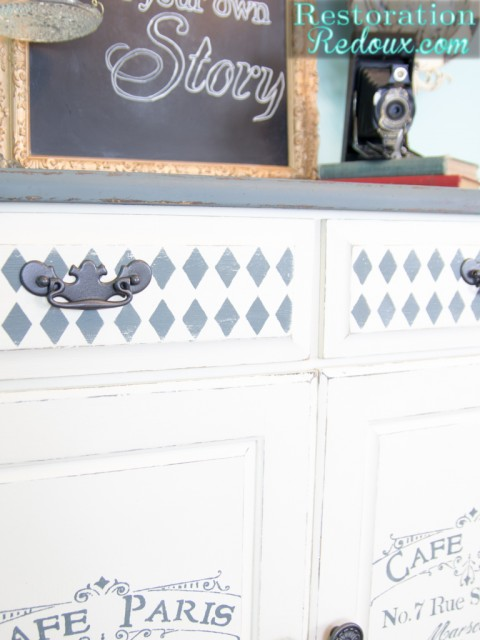 Grey and Ivory Stenciled Cabinet