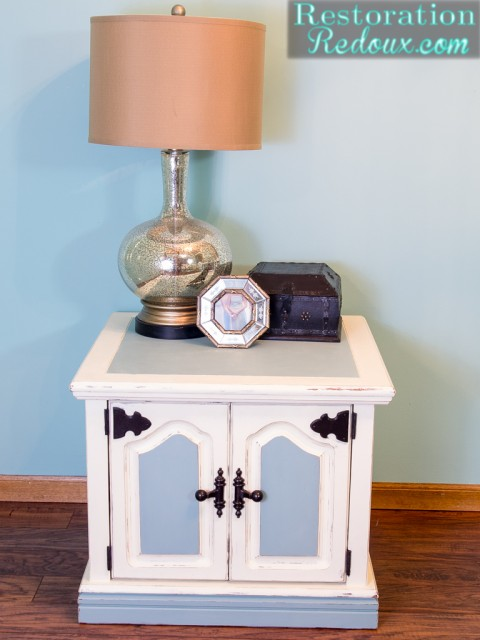 Ivory and Blue Side Table