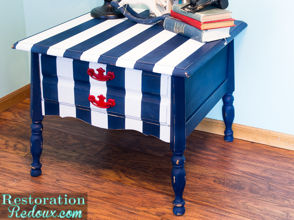 Navy and white striped nightstand daily dose of style for Red side table