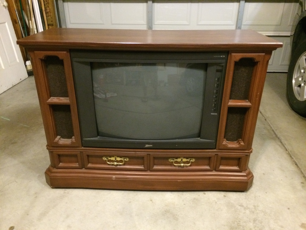 Retro TV Console Turned Dog Castle Bed