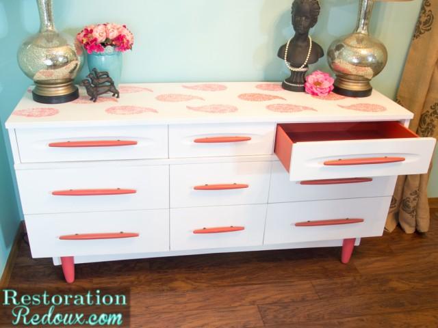 Coral Vintage Stenciled Dresser