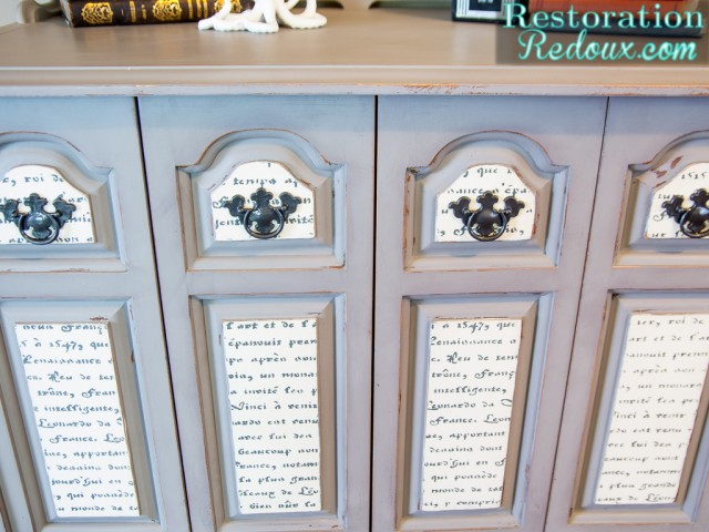 French Script Grey Cabinet