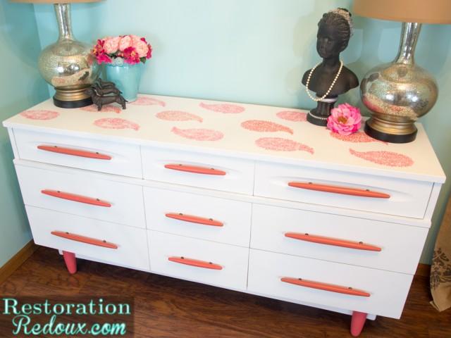 Vintage Stenciled Dresser