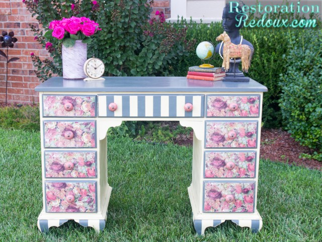 Decoupage-Plaster-Painted-Desk