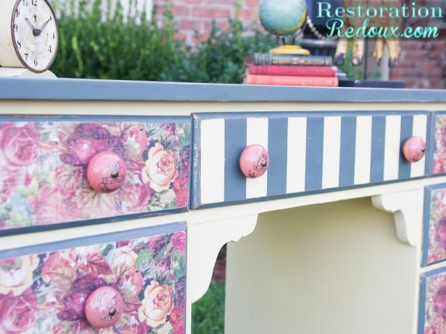 Plaster Painted Striped Decoupaged Desk