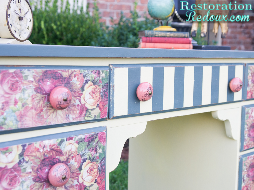 Plaster-Painted-Striped-Decoupaged-Desk