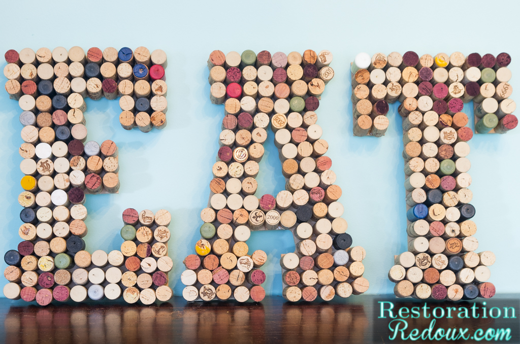 Wine Cork Wall Art wine cork letters - restoration redoux