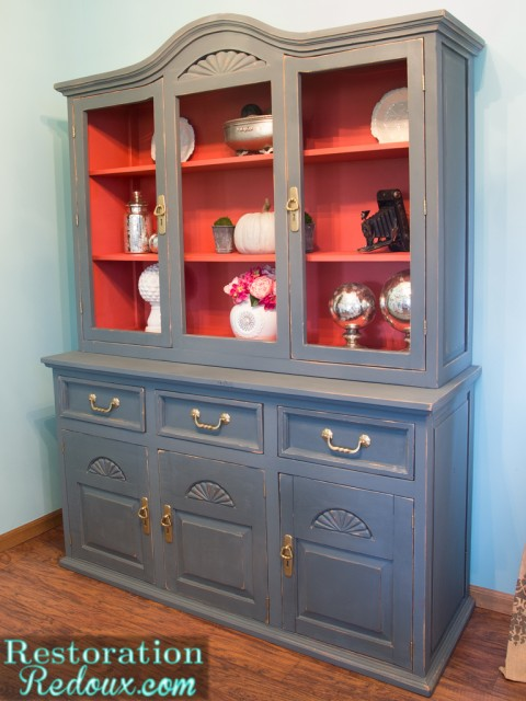 Grey-Plaster-Painted-China-Hutch