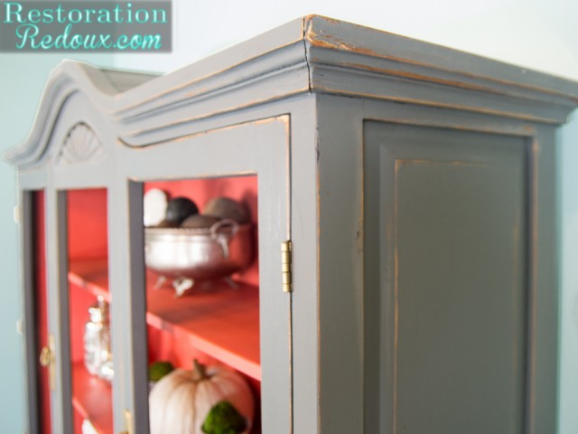 Plaster Painted China Cabinet