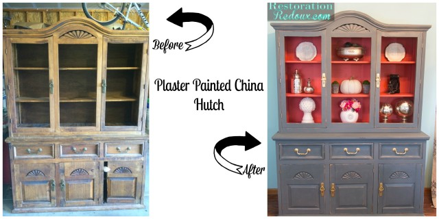 Plaster Painted China Hutch Makeover