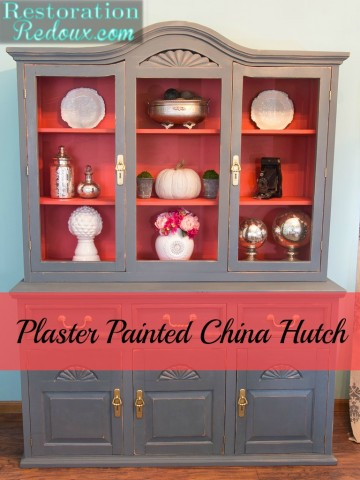 Plaster Painted China Hutch