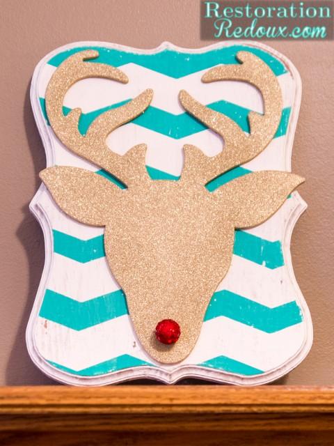 Glitter Deer Head Plaque