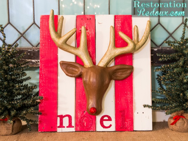Planked Christmas Deer Sign