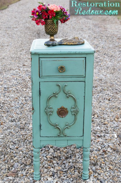 Aqua Milkpainted Side Table