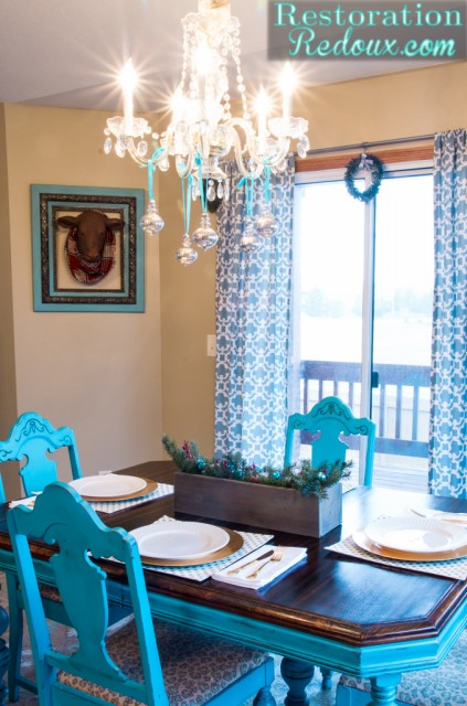 RestorationRedoux Christmas Turquoise Dining Table