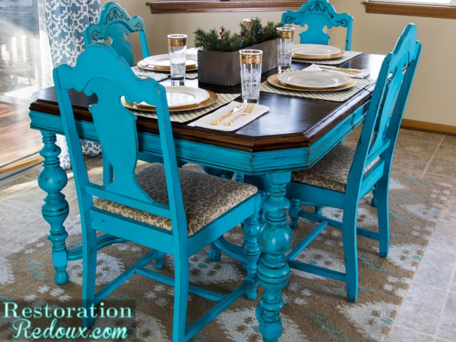 RestorationRedoux Turquoise Christmas Dining Table