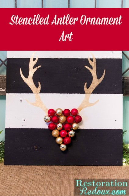 Stenciled Antler Ornament Art