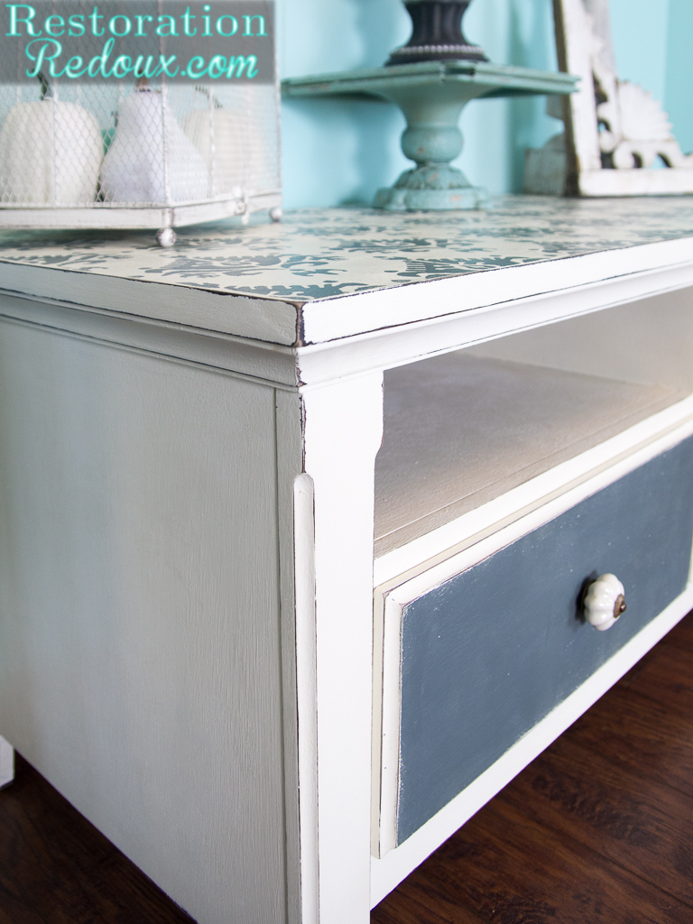 Old Console Tv Makeovers ~ Stenciled tv console makeover daily dose of style
