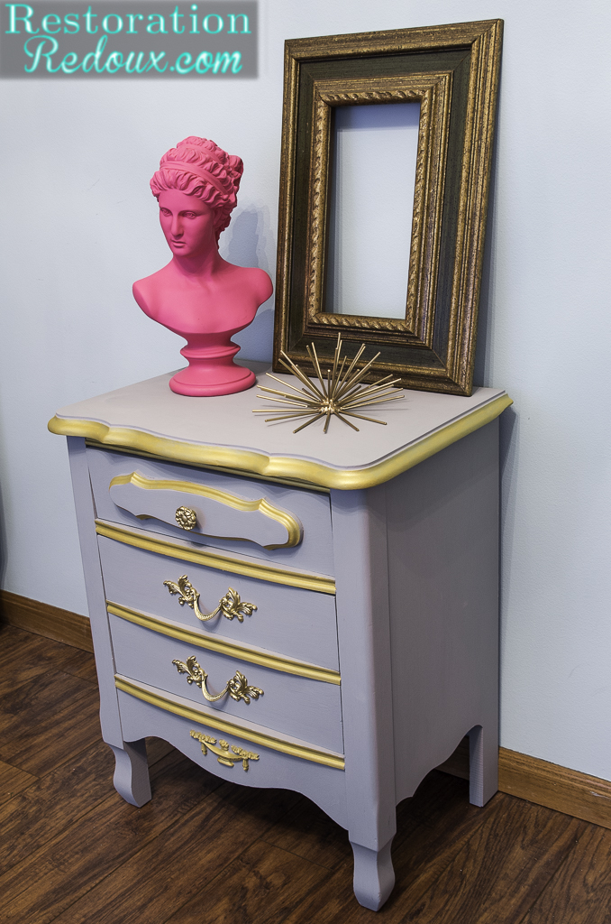 Plaster Painted French Provincial Nightstand Makeover Daily Dose Of Style