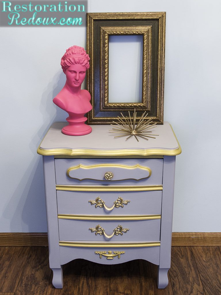 plaster painted french provincial nightstand makeover - daily dose French Provincial Nightstand