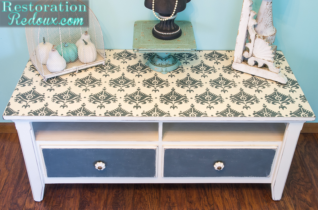 stenciled tv console makeover - Painted Tv Consoles