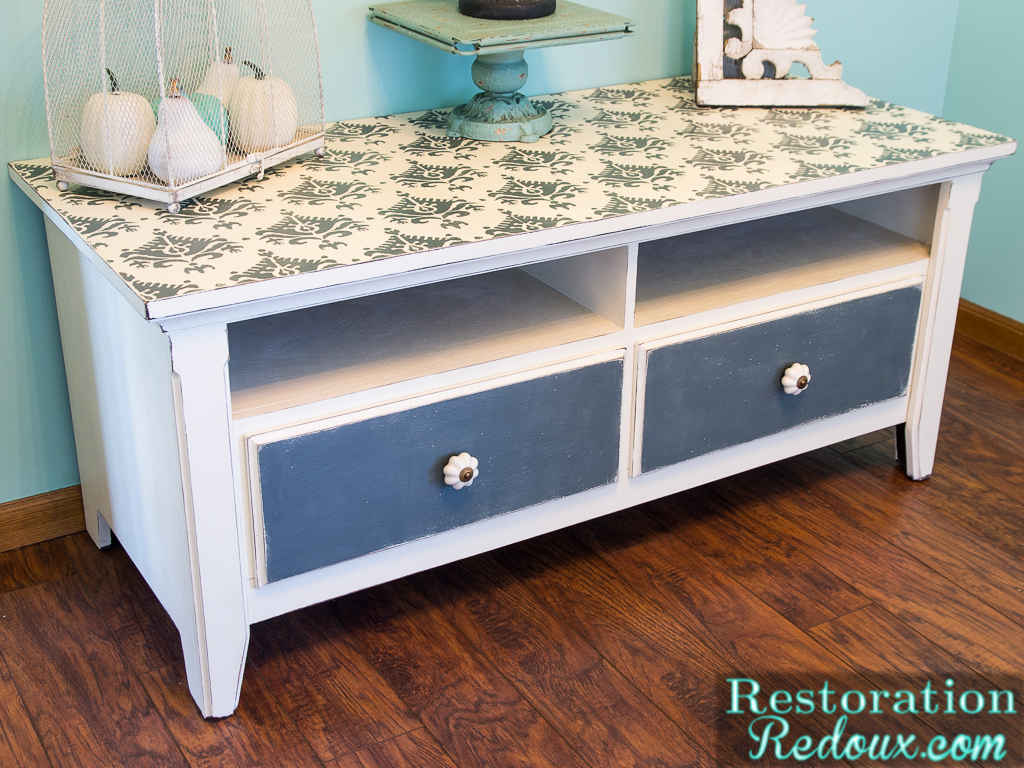Stenciled tv console makeover daily dose of style