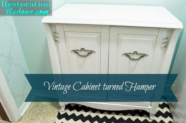 Vintage Cabinet Turned Laundry Hamper