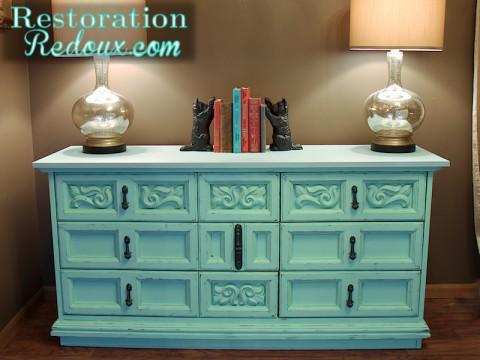 Aqua Chalkpainted Vintage Dresser