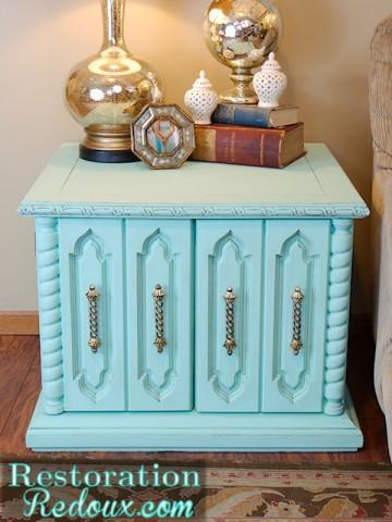 Aqua Chalkpainted Vintage Cabinet