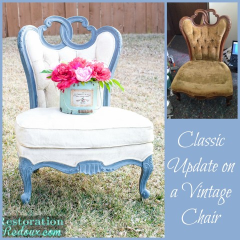 Painted Vintage Upholstered Chair
