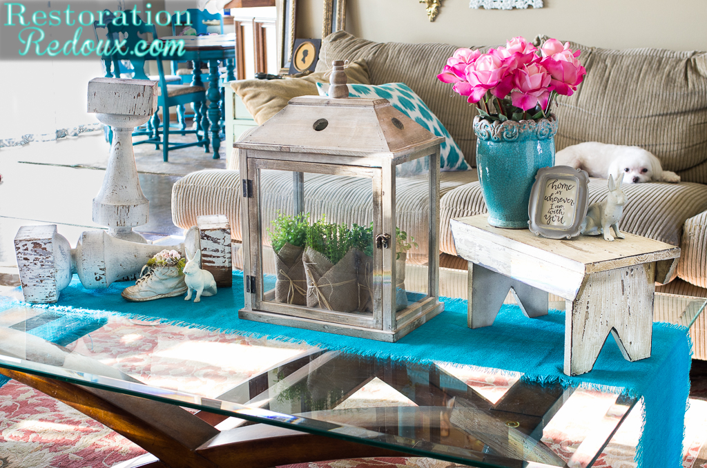 I Added A New Turquoise Table Runner For Bright Springish Pop Of Color