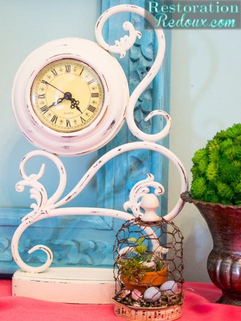 Plaster Painted Ivory Clock