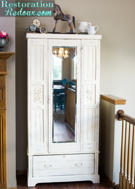 Ivory Chalky Finish Vintage Armoire