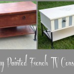 Ivory French Striped TV Console