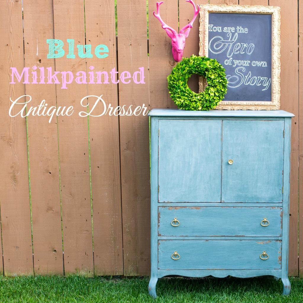 Blue Milkpainted Antique Dresser
