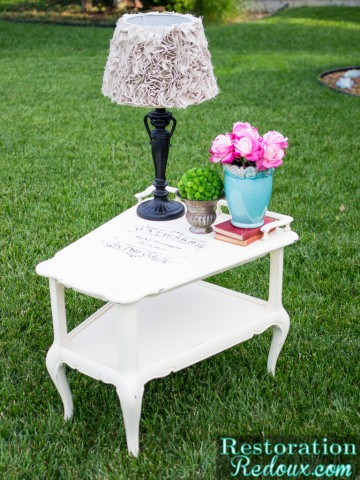 French Scripted Ivory Painted End Table