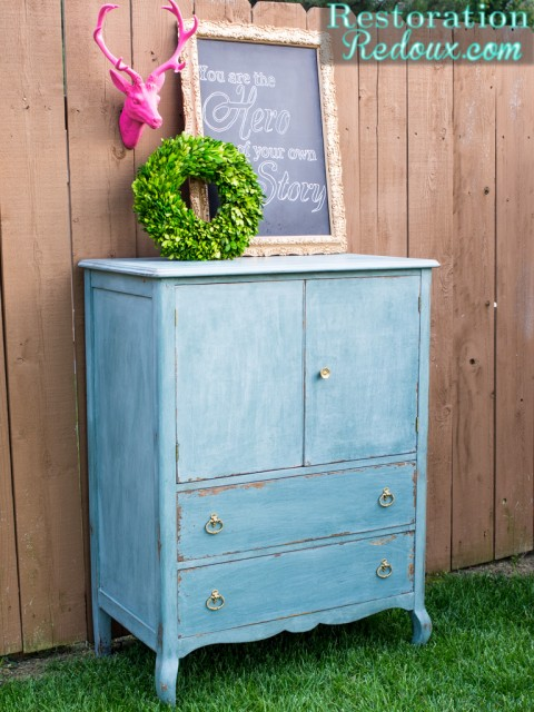 Gorgeous blue dresser painted with Junque Milk Paint from Restoration Redoux.