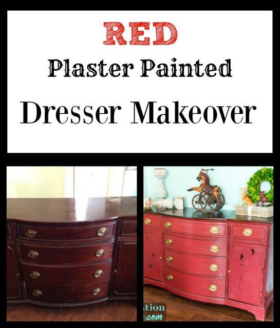 Red Plaster Painted Dresser