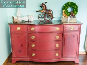 Vintage-Red-Dresser-Makeover