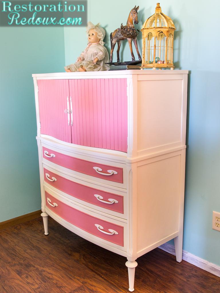 Pink and Ivory Vintage Dresser