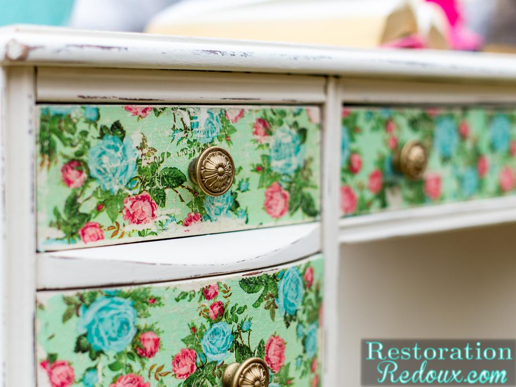 Vintage Decoupaged Desk