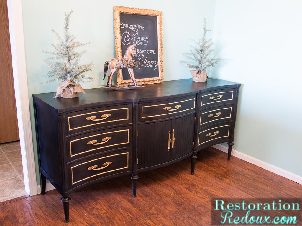 AmyHoward Black GoldLeaf Dresser