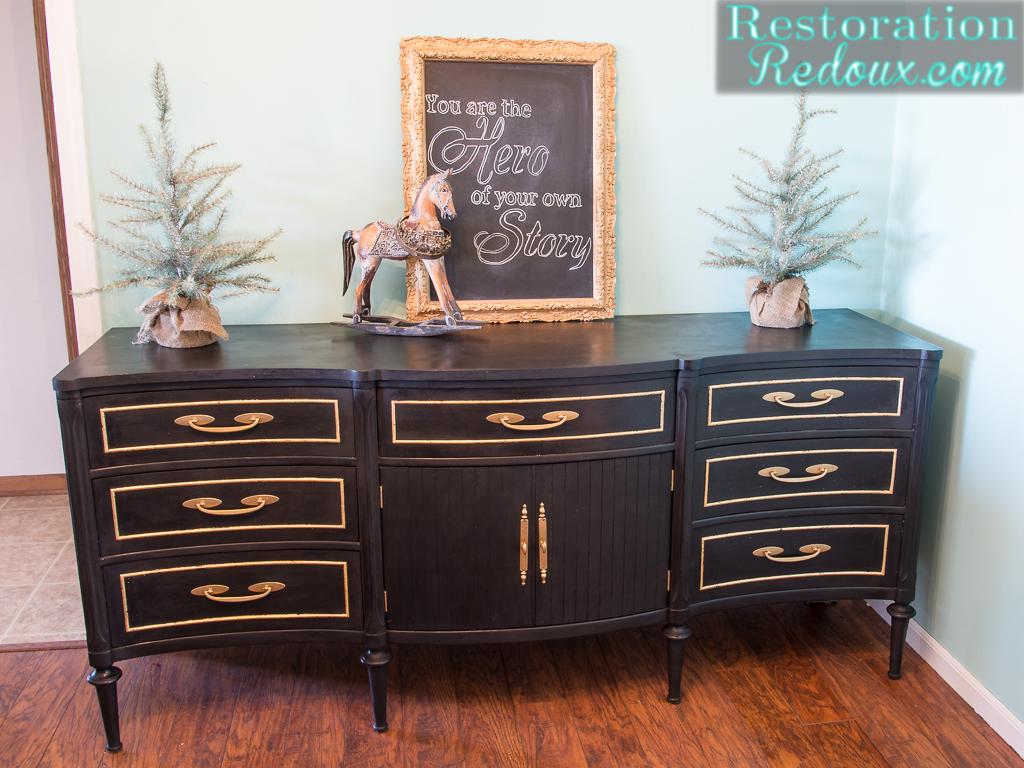 Charming Black Vintage GoldLeafed Dresser. Gold Leafing