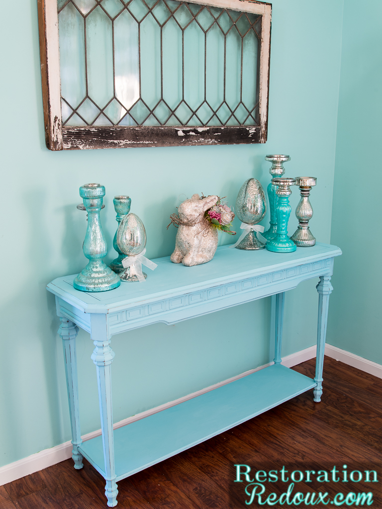 Blue Distressed Console Table