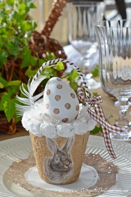 Neutral bunny tablescape