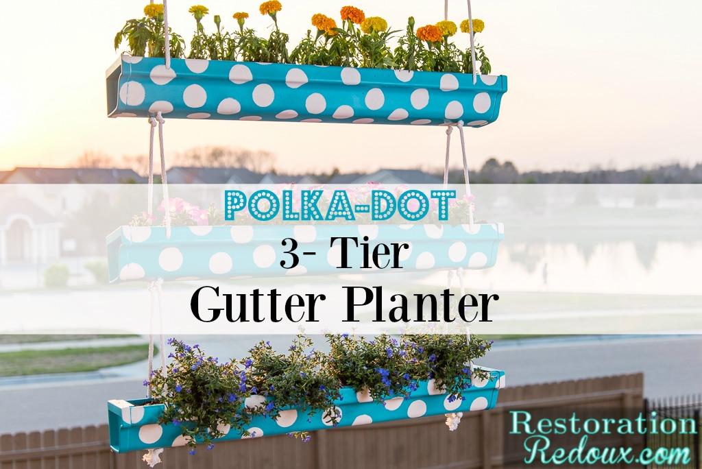 3-Tier Polka-Dot Hanging Gutter Planter
