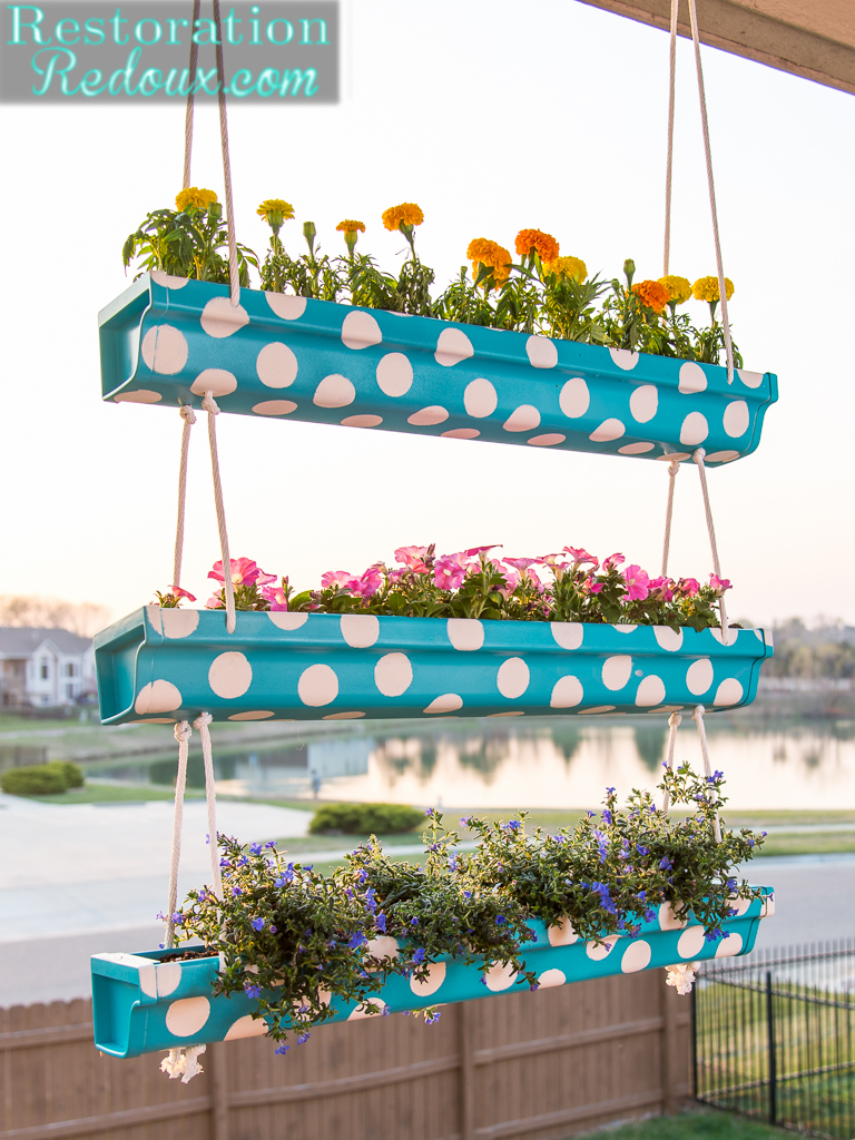 3 tier polka dot hanging gutter planter daily dose of style for Rain gutter planter box