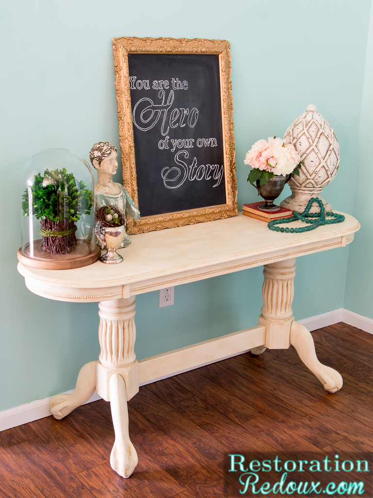 Console table makeover daily dose of style for Sofa table makeover